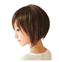 Wholesale Girls Bob Wigs - Short Bob Straight Wig For Women Girls Natrual Black Light Brown Dark Brown 35 Cm Synthetic Hair Wigs