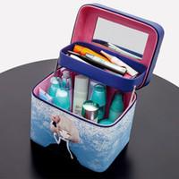 Wholesale Travel Case Bras - Double -Deck Women Fashion Cosmetic Bag Big Travel Lingerie Bra Underwear Handbag Makeup Toiletry Storage Organizer Case Mirror