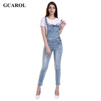 Wholesale Sexy Stretch Jumpsuits For Women - Wholesale- GCAROL Women Ripped Denim Jumpsuits Casual Sexy Stretch Romper Plus Size XL Ladies'Denim Pencil Overalls For 4 season