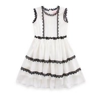 Wholesale Wholesale Flowers Girl S Dresses - Baby girls lace vest dress Enland style kids hollow lace collar princess dress high quality womens ruffle flowers sash party dress R0079