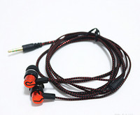 Wholesale Cheap Colorful Weaves - Cheap Headphones 50 Cent Braided Colorful MP3 Woven Fiber Cloth Earphones for iPhone 5s 6 Android Without Volume Control