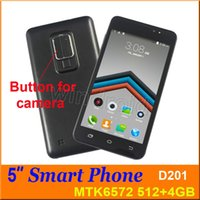 D201 5 polegadas Dual Core Smart Phone Android 4.4 MTK6572 512 4GB 854 * 480 Celular 3G 3G WCDMA desbloqueado Dual SIM camera Smart Wake + estojo