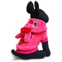 Wholesale Cute Rabbit Wearing Clothes - Free shipping cute rabbit ear dog hoodies pet outdoor wear dog clothes pet coats 4 colors 5 sizes