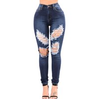 Wholesale Cutout Ripped Denim - New Hot Twins Girl Summer Autumn New Fashion Plue Size Ripped Jeans For Women Blue Denim Wash Ripped Cutout Skinny Jeans