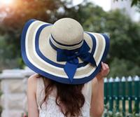 Wholesale Ladies Bow Hats - Korean large bow along the beach hat brim hat lady sunscreen sun hat summer sea tide