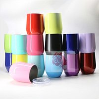 Wholesale Coloured Mugs Wholesale - 9oz Creative Drinkware S egg Cup Powder Coated Wine Glass Stainless Steel Vacuum Insulated Beer Mugs 15 colours