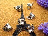Wholesale Coffee Time - 100pcs Coffee Mug Cup Charms Pendants Antique Tibetan Silver Tone 3D 12mm x 12mm once upon a time