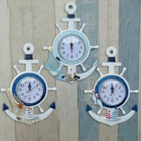 Vente en gros de mode Home Decor Mute Digital Watch Creative Retro Décoration de maison Mediterranean Sea sailing wall clock