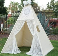 Wholesale Teepee Tents - Wholesale- LoveTree Canvas Teepee Canopy Tent Playhouse Kids toy teepee tent Play room Indoor outdoor tourist game room-Lace teepee
