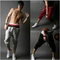 Wholesale Organic Fitness - Men's Sports Wear 7 Cropped Pants Elastic Waist Running Pants with Doulbe Drawstring Quick Drying Fitness Trousers YZK19