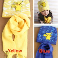 Wholesale Soft Pikachu Hat - Children Poke Pikachu Knitted Beanie Scrarves Kit Sets Baby Kids Girls Boy Winter Warm Cartoon Soft Crochet Scarf And Caps Hats 3-10T PX-H09