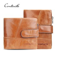 Wholesale Blue Sandstone - Wholesale- CONTACT'S Classical England Genuine Leather Men Wallets Wallet For Fashion Sandstone Color Purse Card Holder Man Coin Pocket