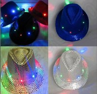 LJJK303 luz intermitente hasta Led Fedora Trilby lentejuelas Unisex Fancy Dress Dance Party Hat LED Unisex Hip-Hop Jazz Lámpara Luminous Hat