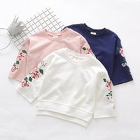 Wholesale Girls Floral Hoody - New cotton big floral embroidery long sleeve Children T Shirts Girls Shirt coat kids pullover Hoody tops Tee Shirt Kids Clothing wear A875