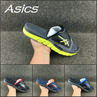 Wholesale Basketball Sandals - 2017 Wholesale Asics Slippers Shoes Men Women Shoes New Color Original Black Blue Sandals Sport Indoor Discount Sneakers 37-45