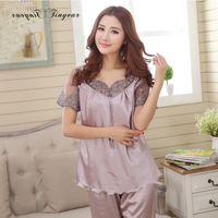 Wholesale Ladies Transparent Suit - Wholesale- 2016 Top quality silk pajama sets hollow out embroidery lace v neck lady night suits transparent breathable women lounge wear