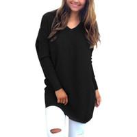 tıknaz süveter kadınları toptan satış-Toptan Satış - Kadın Kış Sıcak Baggy Kazak İnce Jumper Dış Giyim Kadın V Yaka Tıknaz Örme Boy Tops