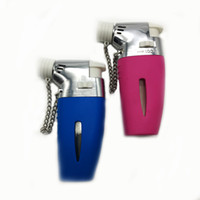 green electronic windproof cigarette lighter 도매-NEW 방풍 블루와 핑크 Tripe Jet 라이터 시가 라이터 Refillable Butane Cigarette Flame 라이터 토치와 안전 캡