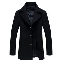 Wholesale Stylish Men Coat New Arrival - Wholesale- New Arrival Autumn Winter Men Thicker Warm Trench coat Overcoat England Stylish Solid Jaqueta MasculinasMen Wool Peacoat Jacket