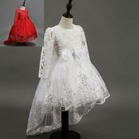 tutu rojo 4t al por mayor-Vestidos de encaje de manga larga para niñas pequeñas Vestidos de primera comunión Vestidos de princesa blanca y roja de marca de moda para niños Envío gratis