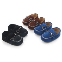 Wholesale Brown Leather Infant Shoes - New Baby Infant Shoes First Walkers Soft Sole Toddlers Crib Shoes Cool Newborn Bebe Sapatos