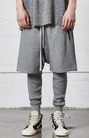 Wholesale Loose Gear - Men draw String Low Crotch terry Shorts FOG style kanye Justin bieber loose shorts gear zipper