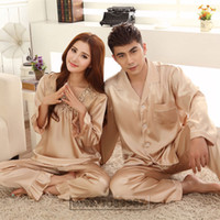 Wholesale Summer Lovers Sleepwear - Wholesale- 2016 Spring Summer Autumn Chinese Satin Silk Pajamas Sets of Sleepcoat & Pants Couple Sleepwear Lover Nightdress & Home Clothing