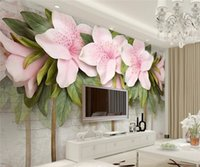 Wholesale Background For Kids Photos - Custom Photo Wallpaper Mural Wall Stick 3D Stereo Pink Flower Leaf Brick Wall TV Background Wall papel de parede