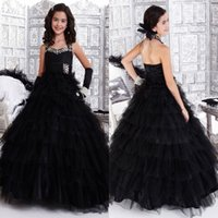 Wholesale Dresses Long Layers - New 2017 Little Girls Pageant Dresses Princess Halter Neck Black Layer Ruffles Puffy Long Kids Formal Wear Gowns Beaded