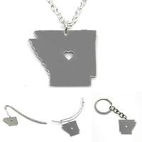 Wholesale states necklaces resale online - US State map necklace Arkansas silver tone Arkansas necklace bangle keyring bookmark