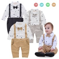 Wholesale Boy Gentlemen Straps - Ins Babys Boys Romper Gentleman Kids Clothing 2017 New Autumn Jumpsuits Rompers Long Sleeve newborn Bow Straps Romper YAN-438