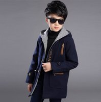 Wholesale Teenage Boys Wholesale - Autumn Winters Teenage Boys Solid Color Woolen Long Sleeve Fashion Hooded Outerwear Children Clothes 5-14Y PWY001