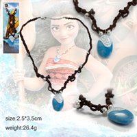 Wholesale Wholesale Japanese Accessories - Moana Ocean Romance Rope Chain Necklace Blue Stone Pendant Braided Women Jewelry