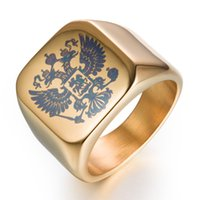 Wholesale Russian Wedding Bands - 2018 NEW Mens Rings Titanium 316L Polished Stainless Steel Ring Russian Emblem Design Men 6 Color US 7-14 Stainless Steel Rings