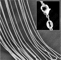 5PCS Ball Chain Necklacec 925 Sterling Silver Necklace Atacado Mulheres Moda Jóias 1MM