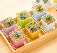 Wholesale Mini Flower Pots Wholesale - Wholesale Multi-Color Mini Flower Pots,Square Plastic Plant Pots ,Office Desk Garden,Flowerpot for multicapacity process,Seedling pots