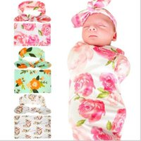 Wholesale Hospital Setting - 2017 New Sleeping Swaddle Blanket Rabbit Ear Headband Set Floral Headwear Print Hospital Fashion Headband Turban Cocoon Photo Props Gift