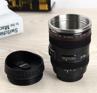 Wholesale New Generation Camera - New Creative Camera Lens Coffee Mug 400ml Stainless Steel Liner Tea Cup 5 Generation Tumbler Travel Mug SLR Lens Bottle Novelty Gifts
