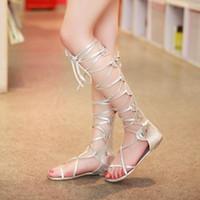 ingrosso le ragazze merlettano sandali-croce piatta allacciata molto sexy lungo tacco basso croce sandali legati ragazza donna scarpe da donna 085