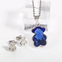 Wholesale Rope Earrings - TL Stainless Steel Crystal Bear Jewelry Set Earrings Pendant Necklace 10 Colours High Quality Hot Selling