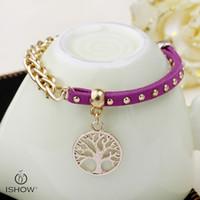 Wholesale Bracelet Slap Infinity - Voilet hand link chain jewelry infinity wholesales New & fashion The life of tree charm unisex bracelets infinity bangle velvet