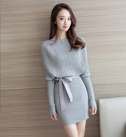 Wholesale Bat Pencil - 2017 autumn and winter new bag of buttock bat sleeves knitting women's knitting dresses fashion women's clothing wholesale