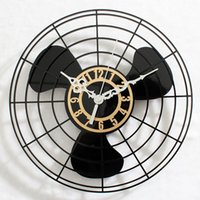 Wholesale Vintage Metal Fans - Fan Retro Wall Clock Handmade Antique Metal Electric Multi-Color Home Decor Arabic Numerals Shabby Vintage Fan Wall Clock