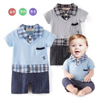 Wholesale Toddler Boy Plaid Rompers - Newborn Boys onesies Rompers baby clothes boy short sleeve turndown collar plaid romper JumpSuit Blue Gray Toddler Clothes 12475