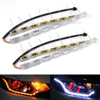 Wholesale Led Sequential Turn Signal - Sequential Flow Style Car Flexible White Amber Switchback LED DRL Daytime Running Light with Turn Signal Lights 2016 Car Styling