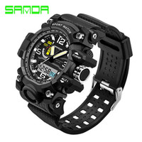 Wholesale Large Watches For Mens - SANDA Large Dial Top Brand Luxury Men Sport Watches Fashion Digital Sport Wrist watches Relogio Masculino For Mens Quartz Watch