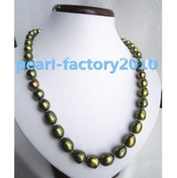 "Wholesale Malachite Green Pearl - 18"" 12x10MM Malachite green SOUTH SEA pearl NECKLACE 14K GOLD CLASP"