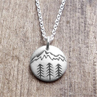 Wholesale Climbing Plants - Hot sale round handmade tree necklace jewelry wholesale.Pines and distant peaks Handmade Landscape Necklace.Forest outdoor climbing necklace