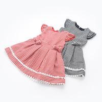 Wholesale Denim Shorts For Kids - Fashion Kids Girls Ruffles Puff Sleeve Print Plaid Dress Pretty Bowknot Kids Wholesale Dress For 2-7T