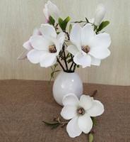 Wholesale Wholesale Bridal Stores - Magnolia Artificial Flower, Oksale Cloth Plastic Fake Wedding Flower Bouquet, Bridal Home Floral Decor for Party, Bookstore,Cafe Store (A)